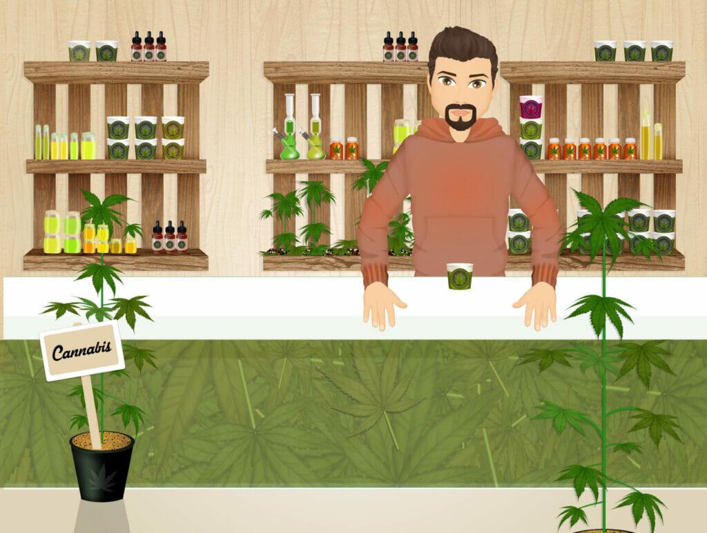 illustration of cannabis store