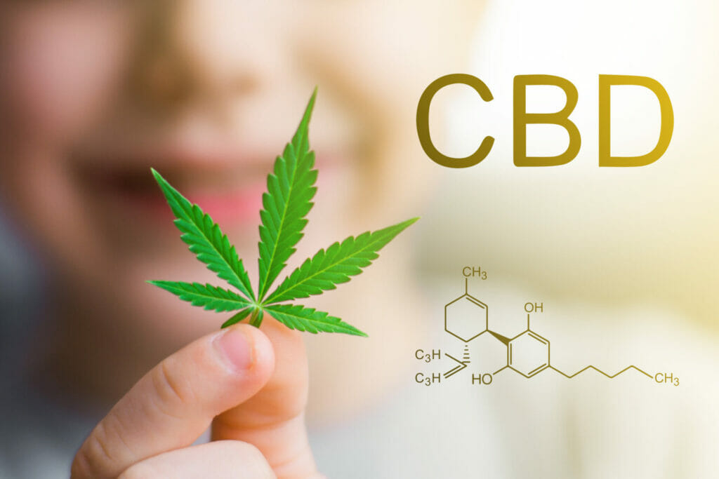 cbd cannabidiol leaf of cannabis in the hands of a kid child . concepts of using marihuna for medicinal purposes for children, medical use of non psychoactive cannabidiol cbd
